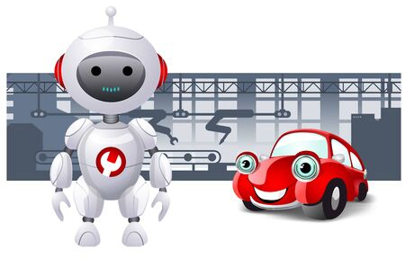 Fully robotic manufacturing and RPA concept. An android and a red car with a fully robotic production line on the background. Cartoon style.  Vector illustration for web and prints.