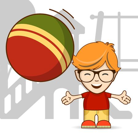 Happy ginger boy with glasses playing ball on a playground. Vector illustration for print and web projects.