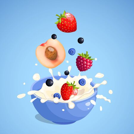 Strawberry, raspberry, peach, black currant and blueberry falling and splashing in the milk product in blue bowl. Blue background. Cartoon style. Colorful vector illustration for poster, icon, label, print and web project.