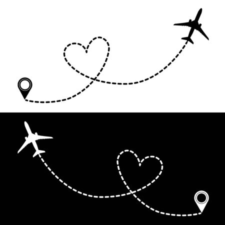 Flying plane and take-off point with the heart-shaped trail between them. Black and white vector illustration for logotypes, posters, banners, print and web projects. Фото со стока - 134925685