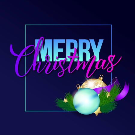 Handwritten phrase Merry Christmas with christmas ball, mirror discoball, purple ribbon and branches fir tree on a dark blue background. Colorful vector illustration for logo, poster, icon, label, greeting cards, print and web project.