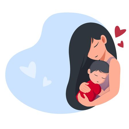 Mom holds a sleeping baby. Cartoon flat style. Isolated on a white background. Colorful vector illustration for logo, poster, icon, label, greeting card, print and web project. Illustration