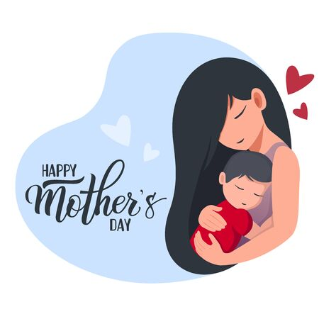 Mom holds a sleeping baby. Handwritten text Happy Mother's day. Cartoon flat style. Isolated on a white background. Colorful vector illustration for logo, poster, icon, label, greeting card, print and web project.