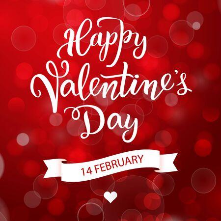 Oryginalny odręczny napis Happy Valentine's day na czerwonym tle z flarami. Ilustracja wektorowa plakatów, kart okolicznościowych, banerów, projektów drukowanych i internetowych. Ilustracje wektorowe