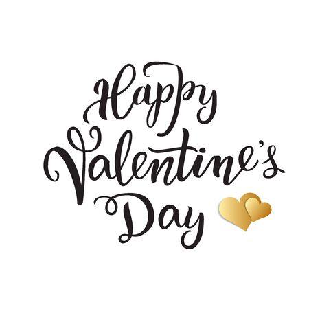 Lettere scritte a mano originali Happy Valentine's day Party e due cuori dorati. Isolato su uno sfondo bianco. Illustrazione vettoriale per poster, biglietti di auguri, banner, progetti di stampa e web.