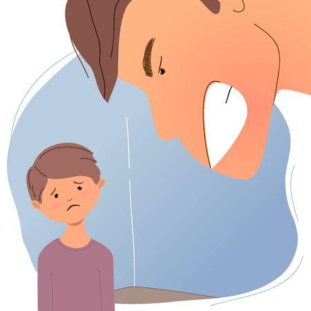 Un homme crie après un enfant