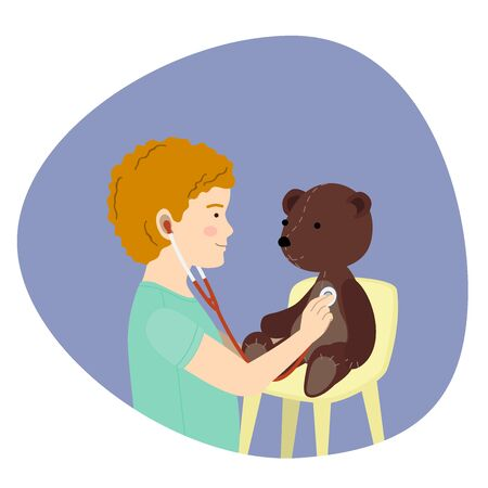 Small redhead boy playing a doctor with plush teddy bear toy. Kid examining patient. Isolated flat cartoon vector for print and web projects Иллюстрация