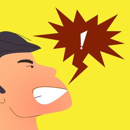 Homme qui crie en colère. L'homme exprime des émotions et des sentiments négatifs. Illustration vectorielle de dessin animé plat pour les projets d'impression et web