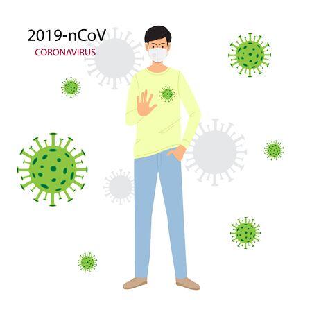 Hombre joven en máscara médica que muestra el gesto de la palma de la mano, señal de pare. Detenga el coronavirus. Ilustración de vector de dibujos animados plana aislada sobre fondo blanco. Ilustración de vector