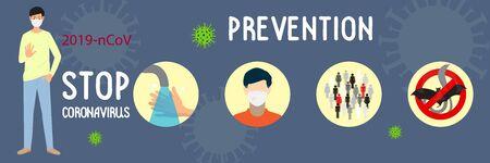 Coronavirus 2019-nCoV. Diseño de concepto para detener el coronavirus. Hombre en máscara médica que muestra el gesto de la palma de la mano, la señal de stop y la infografía de prevención. Vector de dibujos animados plana