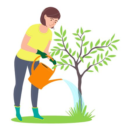 Caring and planting gardens tree. Environmental activities. Woman watering a tree. Isolated on a white background. Flat cartoon vector illustration