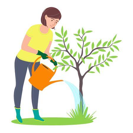 Cuidar y plantar árboles de jardines. Actividades medioambientales. Mujer regando un árbol. Aislado en un fondo blanco. Ilustración vectorial de dibujos animados plana Ilustración de vector