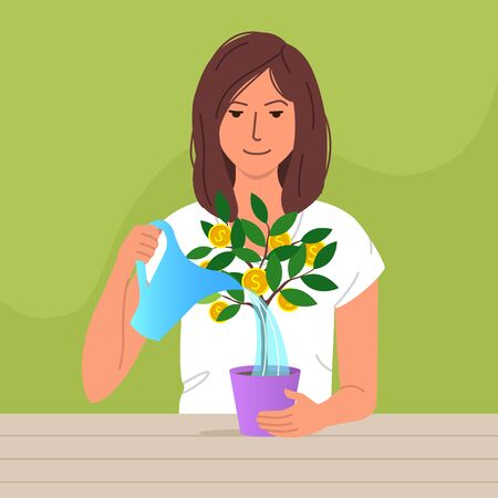 Cute woman watering money tree with golden coins. Personal finance management concept. Modern flat cartoon vector illustration for print and web project.