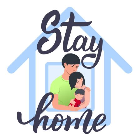 Original handwritten text Stay Home. Family looking out of window. Coronavirus quarantine isolation. Vector Illustration for logo, poster, label, card, banner, print and web project. 向量圖像