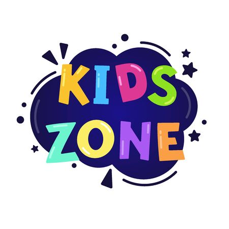 Kids zone vector cartoon banner. Colorful handwritten letters isolated on a white background. Vector illustration for logo, poster, label, card, banner, print and web project.
