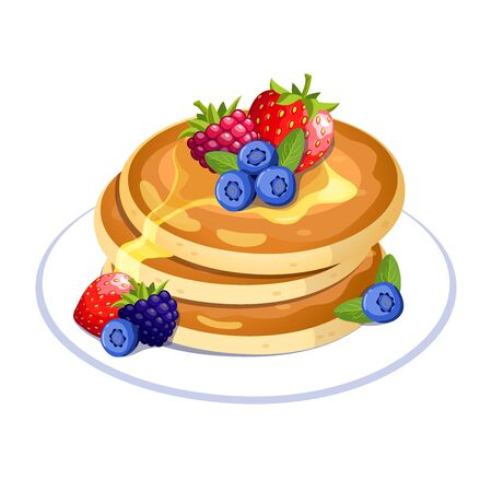 Pancakes with berries on the plate. Traditional sweet american breakfast. Vector illustration isolated on a white background for icon, poster, greeting and invitation card, print and web project.