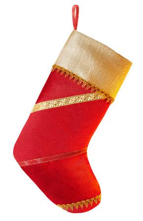 2015 年。クリスマスのストッキング、赤いサテン生地、金の生地、お祭りゴールデン リボン飾られています。手作り、ぶら下がっています。白い背 写真素材