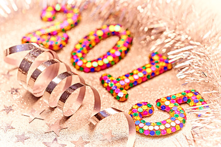 New Year 2015 decorations, colorful digits, silver tinsel, serpentine, stars photo