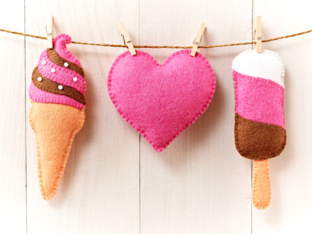 Valentines Day background . Heart, Sweet Ice Cream Couple Handmade. Love concept on wooden background photo