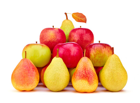 wholesome: Fruits pears, apples organic fresh. Vivid colorful with leaf. Healthy lifestyle. Harvesting.The concept pyramid of wholesome food and success, isolated on white background. Closeup