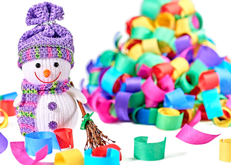hat new year happy new year festive: New Year 2016. Happy Snowman. Party decoration multicolored serpentine confetti. Cheerful fun winter holiday on white background, copyspace.Snowman celebration in festive hat, scarf smiling with broom