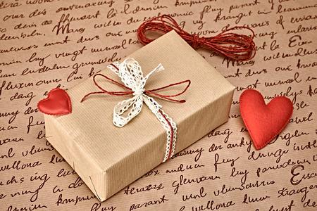 copyspase: Love hearts, Valentines Day. Handcraft gift box, present. Red felt hearts. Retro romantic styled. Vintage retro concept, unusual greeting card. Copyspase