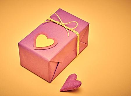 copyspase: Love hearts, Valentines Day. Handcraft gift box, presents. Retro romantic styled. Vintage retro concept, unusual greeting card.  multicolored felt, copyspase Stock Photo