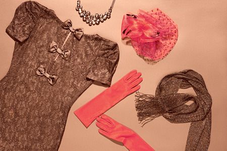 lace gloves: Fashion clothes stylish set, little black lace dress and accessories. Glamor creative, trendy red hat with veil and gloves, necklace and shiny scarf. Unusual elegant evening party style. Vintage retro