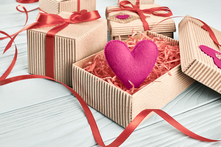 Love Hearts, Valentines Day. Handcraft Gift Boxes, Presents Stack ...