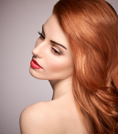 nude fashion model: Beauty portrait nude woman, eyelashes, perfect skin, natural makeup, red lips, fashion. Gorgeous sensual attractive pretty redhead sexy model girl, shiny wavy hair. People face closeup, spa, copyspace