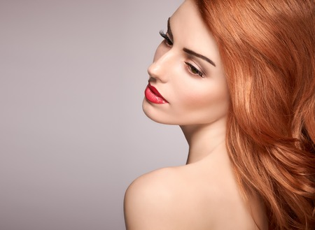 naked people: Beauty portrait nude woman, eyelashes, perfect skin, natural makeup, red lips, fashion. Gorgeous sensual attractive pretty redhead sexy model girl, shiny wavy hair.People face closeup, spa, copy space