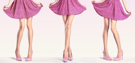 Vrouw lange benen in de mode jurk en hoge hakken. Perfecte vrouwelijke sexy benen in een stijlvolle roze rok en zomer glamour schoenen in verschillende speelse poses. Ongebruikelijke creatieve elegant lopen uit uitrusting, mensen Stockfoto
