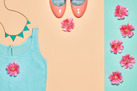 Summer fashion ladies clothes accessories set glamor blue dress stock photo summer fashion ladies clothes accessories set glamor blue dress stylish shoes necklace pink flowers unusual creative modern elegant look mightylinksfo