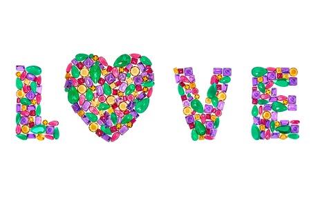 Wort Liebe, Herz. Mode Edelstein, Luxus Glänzend Glanz Bunten ...