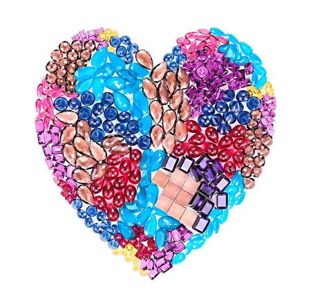 placer: Fashion gemstone heart shape.Luxury shiny glamor colorful placer. Awesome precious stones, mosaic, multicolored creative unusual party decoration. Love concept.Celebration holiday background, isolated
