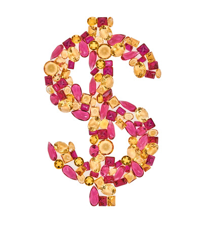 american currency: Dollar sign gemstone. American currency. Finance concept, luxury unusual shiny glamor mosaic placer. Precious stones, closeup isolated. Multicolored creative money decoration.