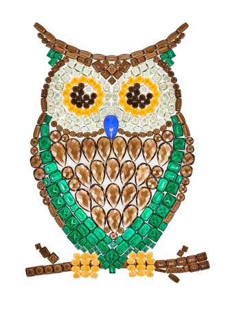 placer: Owl gemstones. Luxury shiny glamor colorful placer. Awesome precious stones mosaic. Multicolored emerald bird, creative unusual decoration. Concept, Feng Shui symbol of wisdom and wealth, isolated