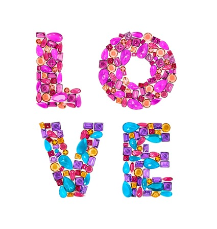 placer: Word Love. Fashion gemstone, luxury shiny glamor colorful placer. Awesome mosaic precious stones, multicolored creative unusual party decoration. Celebration holiday background, isolated