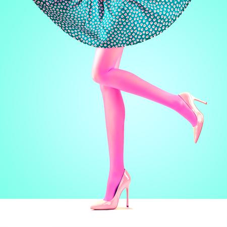 Fashion. Female Skirt. Long Legs, fashion skirt, Trendy high Heels. Female sexy legs, Stylish skirt, Summer Glamour Luxury heels on legs, Model girl in fashion skirt. Fashion female party Outfit Stock Photo