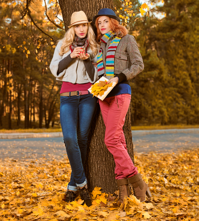 Fall Fashion. Woman in Stylish Autumn Outfit walk in park. Sisters Best Friends Model in fashion knitted autumn clothes. Fall leaves around. Girl Relax Enjoy nature. Autumn fashion outdoor background Stock Photo