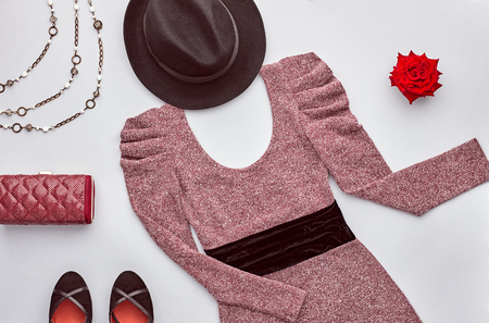 fashion: Autumn Fashion woman Clothes Accessories Set. Design fashion Concept. Stylish Dress, Handbag Clutch, Glamor Heels, Rose. Trendy fashion Design. Top view. Fall Fashion Outfit. Vintage.Creative Overhead