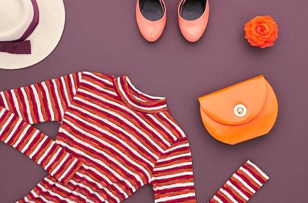 秋のファッションは女性服アクセサリー セットします。デザインのファッション。トレンディなドレス、スタイリッシュなハンドバッグ クラッチ、