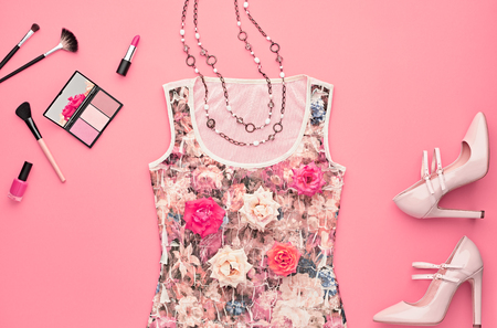 party outfit: Fashion woman Clothes Accessories Set. Fashion Cosmetic Makeup. Stylish Dress Glamor fashion Glamor Heels, Rose. Fashion Design Party Outfit. Top view. Creative Cosmetic Overhead. Essentials.Minimal Stock Photo