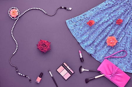 party outfit: Fashion woman Clothes Accessories Set. Fashion Cosmetic Makeup. Top view. Stylish Dress Glamor fashion Handbag Clutch, Rose. Fashion Design Party Outfit. Creative Cosmetic Overhead. Essentials.Minimal Stock Photo