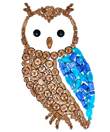 placer: Owl Fashion Design. Feng Shui Owl Symbol Wisdom Wealth. Creative Art Jewelry Decoration. Fashion Luxury Glamor Stylish colorful Owl. Shiny Mosaic Precious placer. Rich Finance Knowledge Concept