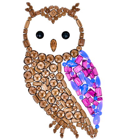 owl symbol: Owl Fashion Design. Feng Shui Owl Symbol Wisdom Wealth. Fashion Luxury Glamor Stylish colorful Owl. Creative Art Jewelry Decoration. Shiny Mosaic Precious placer. Rich Finance Knowledge Concept Stock Photo