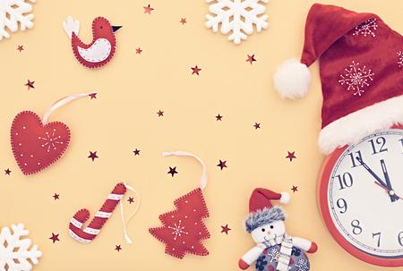 hat new year happy new year festive: New Year background decoration. Clock, Handmade holiday, Christmas Santa hat, Happy Snowman, Snowflakes. Fun New Year 2017.XMAS Design Ornament. Festive Art New Year Greeting Card.Retro Vintage Stock Photo
