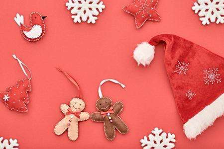 hat new year happy new year festive: Christmas holiday Santa hat, Happy Gingerbread. Snowflakes, Fir. Christmas background decoration Handmade, New Year 2017. XMAS Design Ornament. Festive Art christmas Greeting Card. Retro Vintage