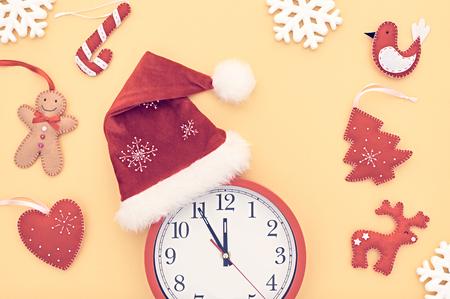 hat new year happy new year festive: New Year background decoration Handmade, Christmas holiday Clock, Santa hat, Happy Gingerbread. Snowflakes, Fir. New Year 2017. XMAS Design Ornament. Festive Art New Year Greeting Card.Retro Vintage