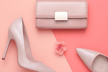 Fashion Design Woman Accessories Set. Pastel Colors.Cosmetic Makeup.Trendy fashion Handbag Clutch clothes. Glamor fashion shoes Heels. Flower.Luxury Summer lady. Creative Urban. Art. Minimal.